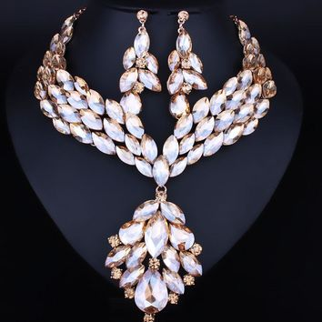 Feather Shape Crystal Rhinestone Necklace Earring Jewelry sets