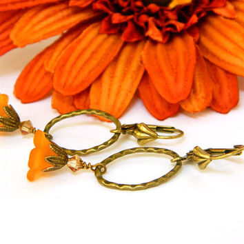 Orange Earrings, Lucite Earrings, Flower Earrings, Handmade Earrings, Handcrafted Jewelry, Orange Jewelry, Flower Jewelry, Brass Earrings