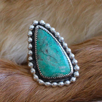 sonora sunrise chrysocolla + beaded border | sterling silver statement ring