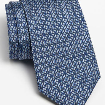 Men's Salvatore Ferragamo Gancini Print Silk Tie, Size Regular - Blue