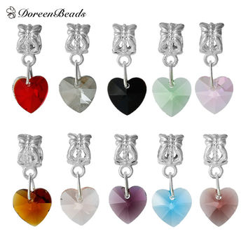 2016 Women Fashion Mixed Imitation Heart Crystal Glass Faceted Slide Pendants Fit European Charm 24x10mm Hole: 5.5mm, 10 Pcs