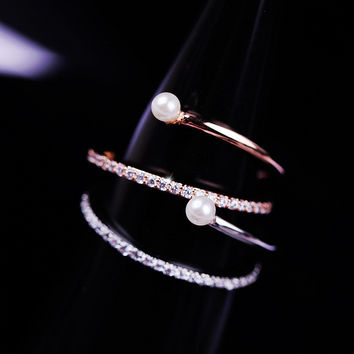 New Arrival Shiny Jewelry Gift Pearls Handcrafts Stylish Ring [6586145351]