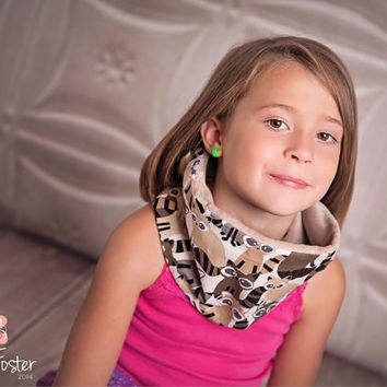 Cowl Scarf, woodland creatures, raccoons, kids cowl, baby cowl, adult cowl