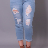 Plus Size Ravaged Jean - Light Wash