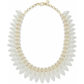 Kendra Scott: Lazarus Gold Statement Necklace In Ivory Marbled Acrylic