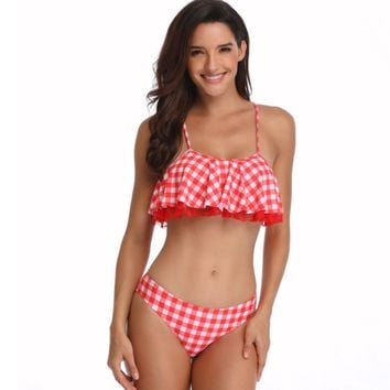 Two Piece Women's Plaid Swimsuit Bikini