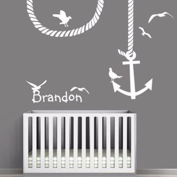 Wall Decal Vinyl Sticker Custom Name Baby Letter Anchor Symbol Seagull Kid r1200