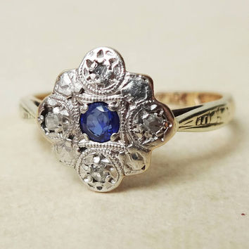 Art Deco Diamond and Sapphire Flower Ring, 9k Gold Platinum & Sapphire Diamond Engagement Ring Approx. Size US 5