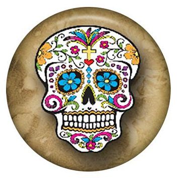 Painted Enamel Skull Tan 20mm 3/4""