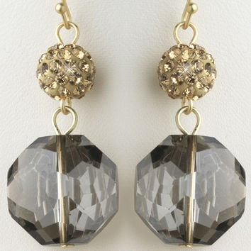 Gold Light Topaz & Smoke Glass Faceted Drop Earrings
