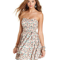 American Rag Dress, Strapless Pleated Floral-Print - Juniors SALE & CLEARANCE - Macy's