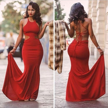 Sexy Red Halter Neck Mermaid Prom Dress Off Shoulder Cheap Simple Backless Prom Dresses Sweep Train Party Gowns 2017