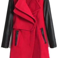 ROMWE | Montage PU Sleeves Red Coat, The Latest Street Fashion