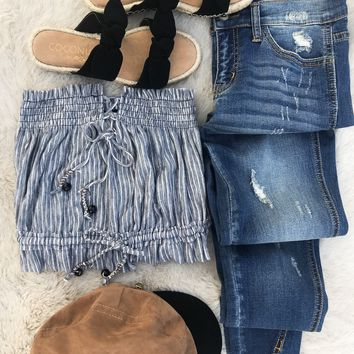 Free People Peppermint Tube Top Blue