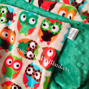 Minky Baby Blanket Cream with Owls Kelly Green Minky Back Car Seat Infant Size  29 x 36 inch