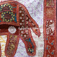 Hippie Hippy Wall Hanging , Indian Elephant Tapestry Throw  Ethnic Decorative Art Table Cloth Embroidered Tapestry, India Patchwork