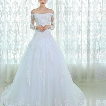 New Design Long Sleeve Lace Beads Wedding Dresses Bridal Gown