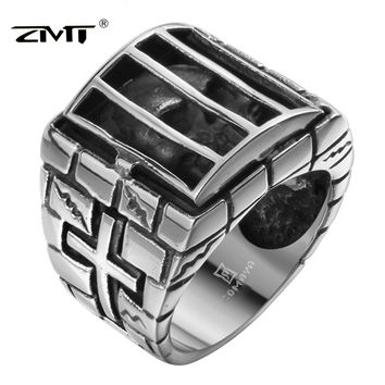 ZMT New Fashion Brand Men Rings 316L Stainless Steel Jewelry Rings 3D Skull Cage Prison Skeleton Punk Vintage Rings For Women