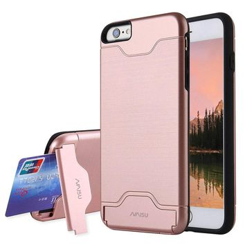 iPhone 6 / 6S Case, NAISU Card Slot Holder Kickstand Dual Layer Hybrid Protective Case with Brush Finish Back Cover for Apple iPhone 6 / 6S (4.7 Inch)-Rose Gold