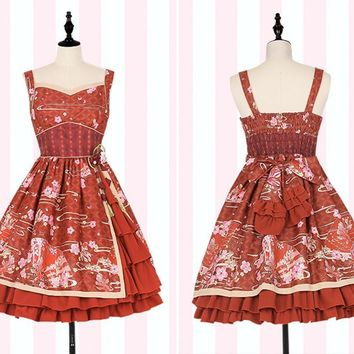 Girls Japanese Style Vintage Lolita Suspender Dress Sakura Flowers Print Ruffles JSK Dresses Black/White/Red