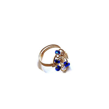 On Sale Handmade Ring, Funky Ring, Blue and Gold Ring in size 7.5 with Free Shipping, OOAK Handmade Gifts for Her