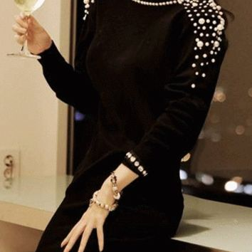 Black Long Sleeve Backless with Pearl Bead Patchwork Mini Dress