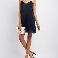 Satin Bar Back Shift Dress
