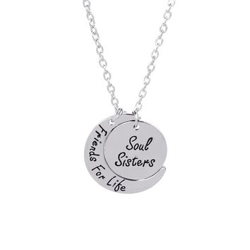 Soul sisters friends For life BFF Necklaces Round Curved moon Statement Necklace Christmas Gift For sister Bestfriend Jewelry