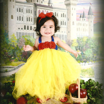 Beautiful Snow White Tutu Dress Costume with Red Hair Bow for Baby Girl 6-18 Months First Birthday
