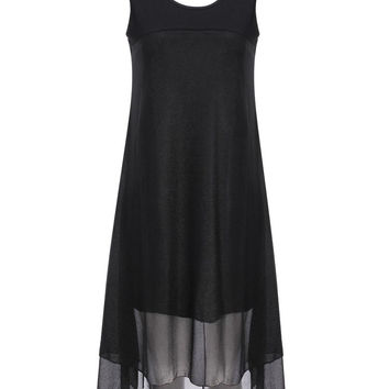 'The Naomi' Black Stitched Sleeveless Vest Dress
