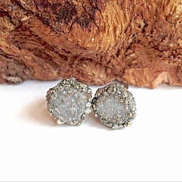 Pyrite encrusted Druzy studs!! Druzy earrings! Pyrite and druzy earring studs. Hypoallergenic stainless steel. Tiny stud earrings.fools gold