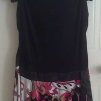 Torrid Party or Work Handkerchief-Hem Dress Women's Sz 16 Black Contrast Print