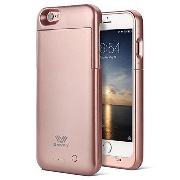 """iPhone 6 / 6S Battery Case [MFI Apple Certified], SAVFY iPhone Portable Charger iPhone 6 6S 4.7"""" Charging Case[Rose Gold]-3200mAh Battery Pack Juice Bank Cover"""