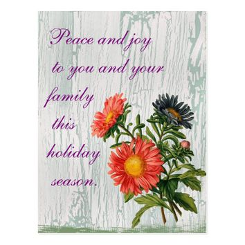 holiday wishes, flowers on wooden backround. postcard