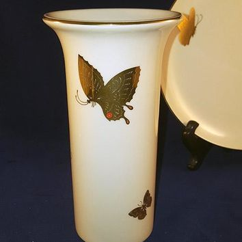Takahashi ChoCho China Off-White Gold Butterflies Bud Vase Japan
