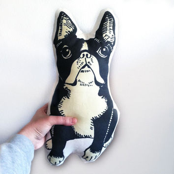boston terrier pillow, stuffed animal for dog lovers