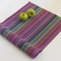 Table Runner Bright Texture Stripes Purple Pink Green Blue Tabletop Dinner Party Brunch