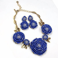 blue resin rose NECKLACE and resin rose earring