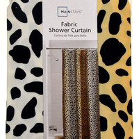 "Cheetah Fabric Shower Curtain 70""x72"" Ombre Black Brown Mainstays Polyester"