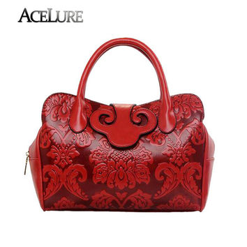 New Design Chinese Element Women Fashion Vintage Handbags Ladies High Quality Luxury Casual Tote Crossbody Cowhide Bags