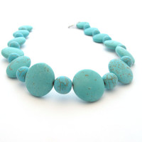 Chunky Turquoise Choker Necklace, Magnesite Stone Beads