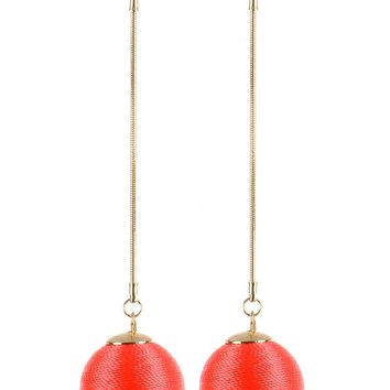Coral Red Color Cord Wrapped Chunky Ball Chain Earring