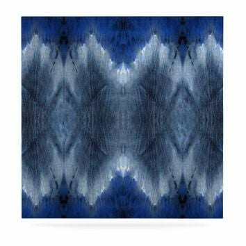"Nina May ""Royal Chambray Shibori Ikat"" Blue White Batik Abstract Mixed Media Watercolor Luxe Square Panel"