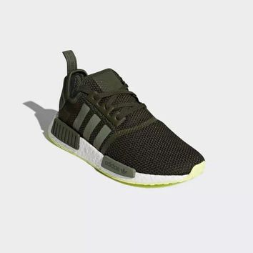 "Adidas NMD R1 PK Boost ""Black&Green"" Running Shoes CQ2414"