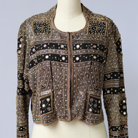 Vintage 1980s Handmade Metallic Beaded Indian Jacket