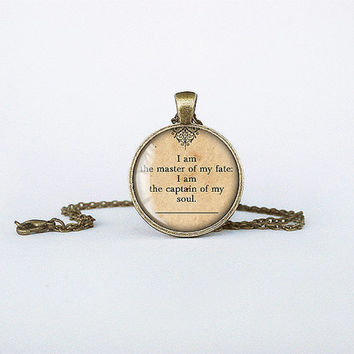 Master of my fate necklace captain of my soul pendant Invictus jewelry Henley poetry famos quotes birthday gift key ring motivational cb153