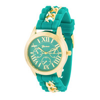 Gold Watch With Green Rubber Strap