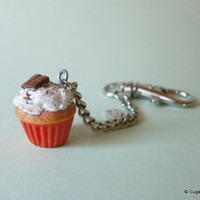 Keychain Charm, Polymer Clay Fake Food Keychain - Cupcake Chocolate Love
