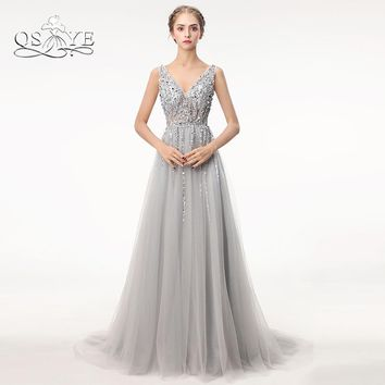 Sexy Side Split Prom Dresses 2018 Deep V Neck Backless Bead Crystal Party Gowns Sleeveless Sweep Train Cheap Tulle Evening Dress