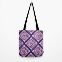 Purple & Pink Diamond Pattern Tote Bag by Sarah Oelerich